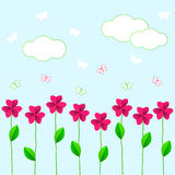 Pink flowers with green leaves and butterflie Royalty Free Stock Images