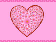Pink flowers heart. Pink flowers arranged in the form of a heart Royalty Free Stock Image