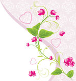 Pink flowers with hearts Stock Photography