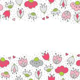 Pink flowers and hearts on dotted white seamless horizontal border Stock Photography