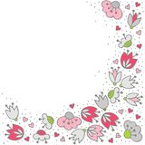 Pink flowers and hearts on white card Royalty Free Stock Photo