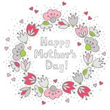 Pink flowers and hearts on white Mother's Day card Royalty Free Stock Image