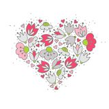 Pink flowers and hearts on white romantic centerpiece Royalty Free Stock Photo