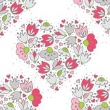 Pink flowers and hearts on white romantic seamless pattern Stock Photo