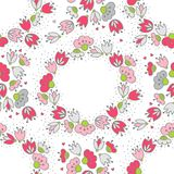 Pink flowers and hearts on white wreath seamless pattern Royalty Free Stock Photos
