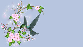 Pink Flowers with Hummingbird. Here is a pretty background with pink flowers and a flying hummingbird stock illustration