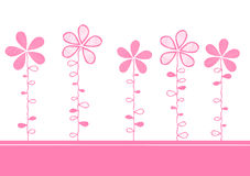 Pink flowers invitation card Royalty Free Stock Images