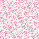 Pink flowers leafs and dots seamless pattern Royalty Free Stock Photos