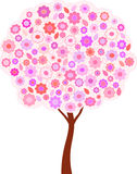 Pink Flowers and Leaves Spring Tree Illustration Stock Image