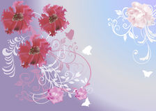 Pink flowers on lilac background Royalty Free Stock Photography
