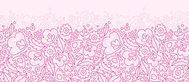 Pink flowers lineart horizontal seamless pattern Royalty Free Stock Photo