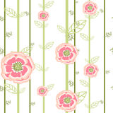 Pink flowers on long stems. Seamless vector print Stock Photography