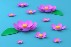 Pink flowers of lotus on the lake paper craft art 3D illustration. Pink flowers of lotus on the blue lake paper craft art 3D illustration Stock Images