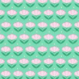 Pink flowers pattern - vector eps10. Pink flowers on mint green background - pattern - vector eps10 Stock Image