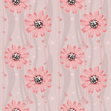 Pink flowers on pattern Royalty Free Stock Image