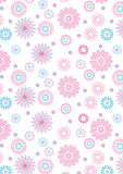 Pink flowers pattern on white background. Vector illustration of flowers in a repeat pattern Stock Photos