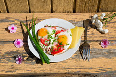 Pink flowers, a plate with eggs, green onions and tomatoes Stock Image