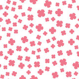 Pink Flowers Print on white. Stylized Pink Flowers Print on White. Seamless Pattern Stock Image
