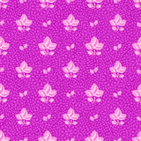 Pink Flowers on Purple Seamless Background Stock Photography