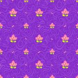 Pink Flowers on Purple Seamless Background Stock Photos
