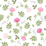 Pink flowers. Romantic seamless vector pattern for Valentine's Day or wedding. Stock Photos