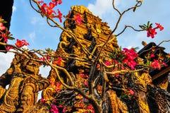 Pink flowers in Saraswati Temple in Ubud, Bali Stock Photography