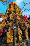 Pink flowers in Saraswati Temple in Ubud, Bali Royalty Free Stock Photos