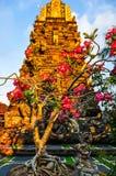 Pink flowers in Saraswati Temple in Ubud, Bali Stock Image