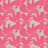 Pink flowers seamless pattern. Bright floral seamless pattern, vector illustration for your design Royalty Free Stock Photography