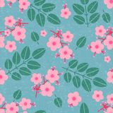 Pink flowers seamless pattern. Flowers on the branches and small buds with leaves on shabby background. Original simple flat illustration. Floral design vector illustration