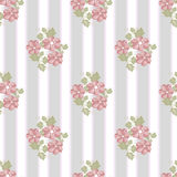 Pink flowers seamless pattern on striped Royalty Free Stock Images