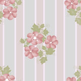 Pink flowers seamless pattern on striped Royalty Free Stock Photo