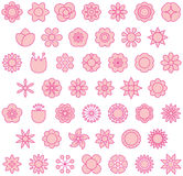 Pink flowers. A set of filled line art style icons of flowers in pink color Stock Photos