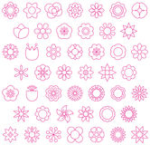 Pink flowers. A set of pink outline vector icons with flowers and blossoms Royalty Free Stock Photos