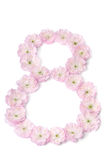 Pink flowers in a shape of number eight Royalty Free Stock Photography