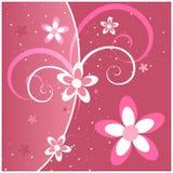 Pink Flowers and Swirls stock illustration