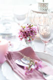 Pink flowers on a table Stock Image