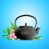 Pink flowers and teapot Stock Image