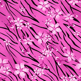 Pink flowers on tiger wild skin leather seamless pattern backgro Stock Photo
