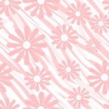 Pink flowers on tiger wild skin leather seamless pattern backgro Royalty Free Stock Photography