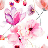 Pink flowers. Watercolor seamless pattern with Pink flowers Stock Image