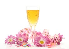 Pink flowers and wine Stock Image