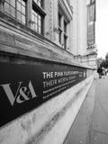 Pink Floyd wystawa przy VA muzeum w Londyński czarny i biały zdjęcia royalty free
