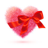 Pink fluffy heart with red bow. Pink vector fluffy heart with red silky bow Stock Photos