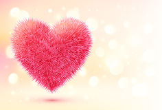 Pink fluffy heart on shining bokeh background Stock Photo
