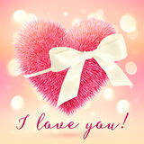 Pink fluffy heart with white bow, greeting card Stock Image