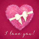 Pink fluffy heart with white bow, vector greeting Stock Photos