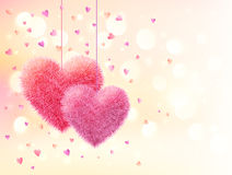 Pink fluffy hearts pair on light bokeh background Stock Photos