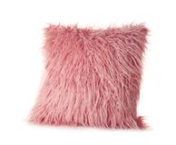 Pink fluffy pillow, isolated. On white Stock Images