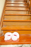 Pink Fluffy Slippers Royalty Free Stock Photography